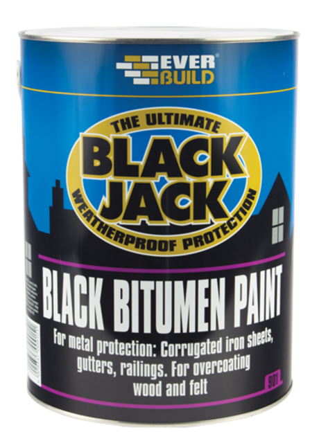 Black Bitumen Paint ( solvent-based ) Everbuild 901 - 1 Litre