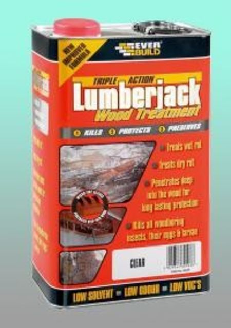 Everbuild Lumberjack Woodworm & Dry Rot Fluid - 5L Clear