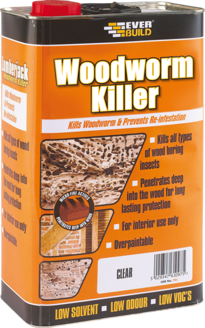 Everbuild Lumberjack Woodworm Fluid - Clear 5 Litres