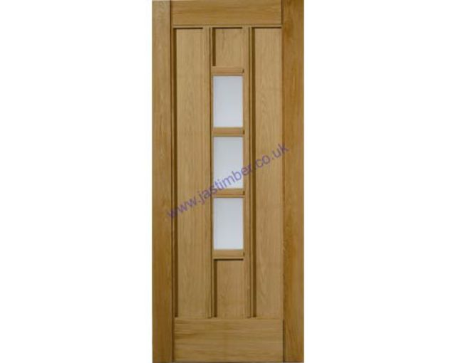 CONISTON Glazed DOOR: 3-light *Obscure Glass* *OAK* 44mm M&T External Door - JB Kind Doors