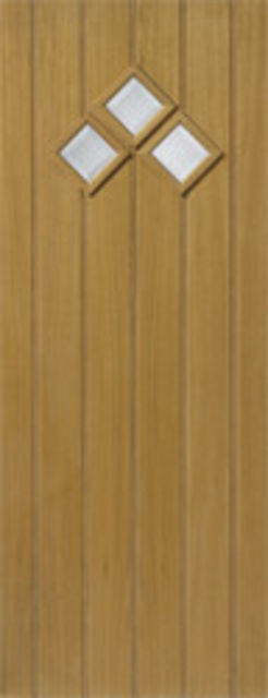 BORDEAUX Glazed DOOR: 3-light *CBG* Therm-L *OAK* 44mm External Door - JB Kind Doors