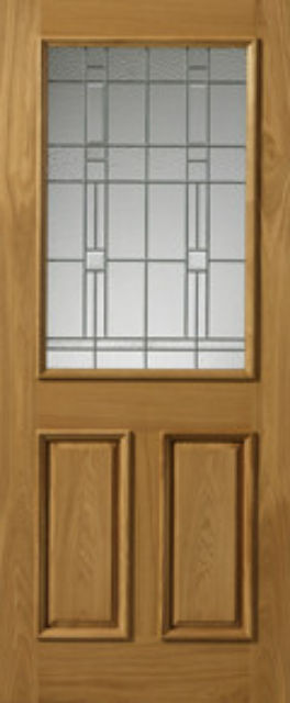BURGUNDY Glazed DOOR: 1-light *Glazed* Therm-L *OAK* 44mm External Doors - JB Kind Doors