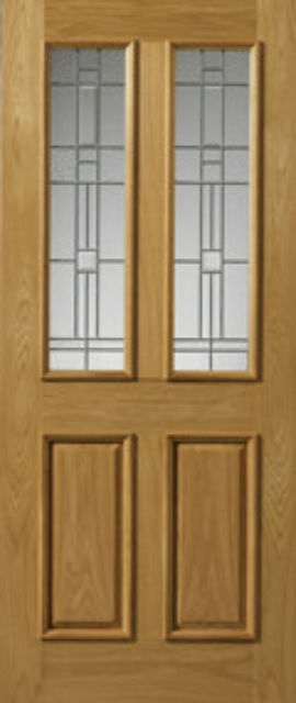 RIOJA Glazed DOOR: 2-light *Glazed* Therm-L *OAK* 44mm External Doors - JB Kind Doors