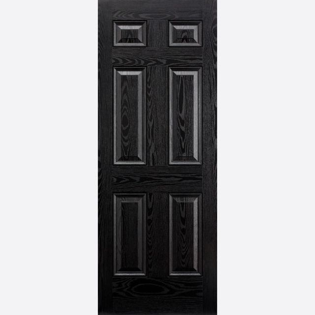 Colonial Door: 6-Panel *Black & White GRP* 44mm External Door - LPD GRP External Doors