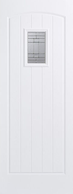 Cottage Glazed Door: 1-Light *Leaded Double Glazed* +RM2S+ *White GRP* 44mm External Door - LPD GRP External Doors