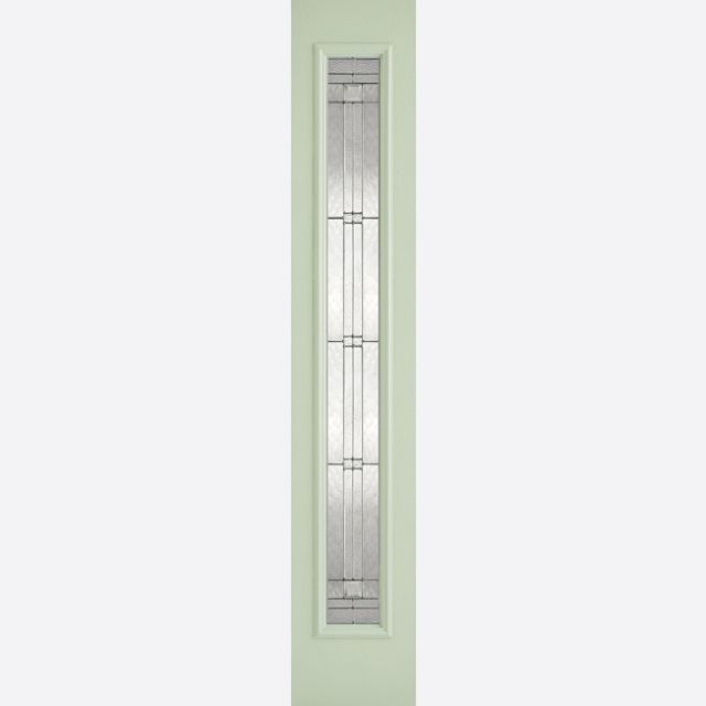 Elegant Glazed Sidelight: 1-Light *Leaded Double Glazed* +RM2S+ *Green & White GRP* 44mm External Sidelight - LPD GRP External Doors