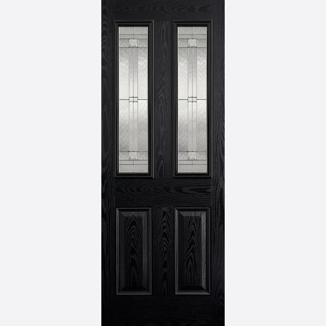 Malton Glazed Door: 2-Light *Leaded Double Glazed* +RM2S+ *Black & White GRP* 44mm External Door - LPD GRP External Doors