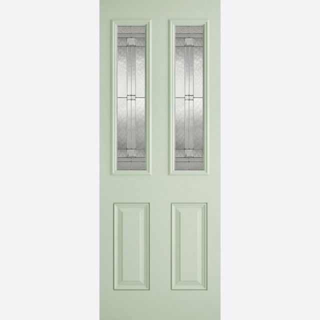 Malton Glazed Door: 2-Light *Leaded Double Glazed* +RM2S+ *Green & White GRP* 44mm External Door - LPD GRP External Doors