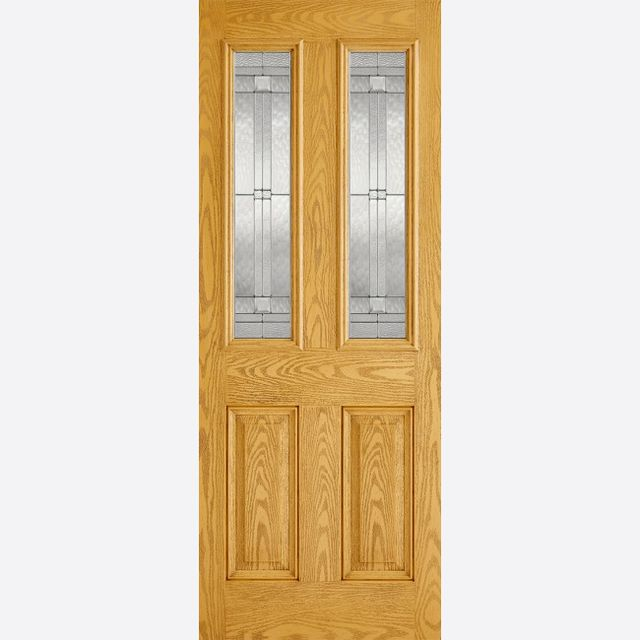 Malton Glazed Door: 2-Light *Leaded Double Glazed* +RM2S+ *Oak GRP* 44mm External Door - LPD GRP External Doors