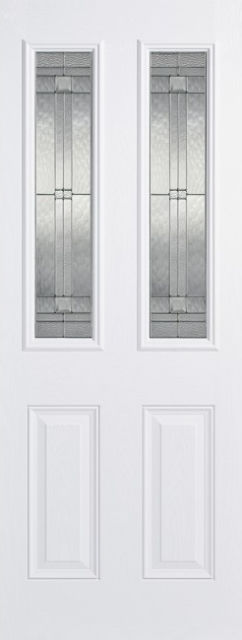 Malton Glazed Door: 2-Light *Leaded Double Glazed* +RM2S+ *White GRP* 44mm External Door - LPD GRP External Doors