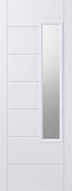 Newbury Glazed Door: 1-Light *Frosted Double Glazed* +RM2S+ *White GRP* 44mm External Door - LPD GRP External Doors