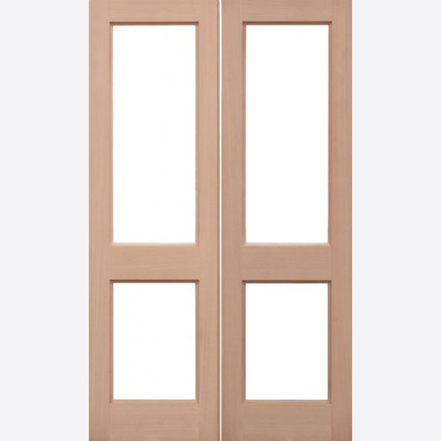 2XGG Unglazed Door: 4-light *Unglazed* Hemlock Dowel 40mm External Pair Door - LPD Trade Doors
