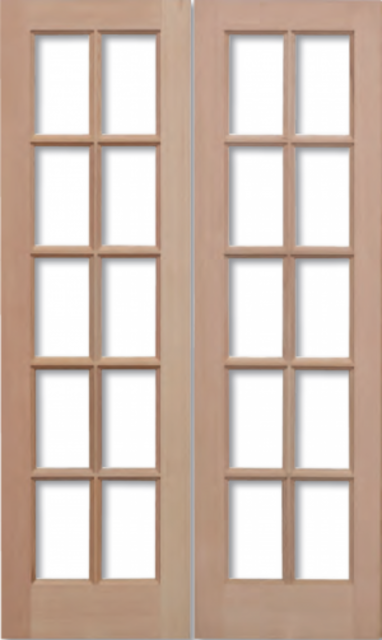 GTP Unglazed Pair Door: 20-light *Unglazed* Hemlock Dowel 40mm External Pair Door - LPD Trade Doors