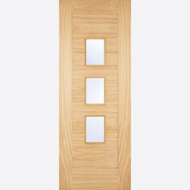 Arta Glazed Door: 3-light *Frosted Double Glazed* *Unfinished Oak* 44mm Dowel Warmer Part-L External Door - LPD Oak External Doors