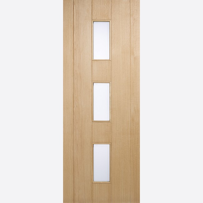 Copenhagen Glazed Door 3-light *Frosted Double Glazed* *Unfinished Oak* 44mm Dowel External Door - LPD Oak External Doors & Copenhagen Obscure Double-Glazed Dowelled Oak External LPD Door