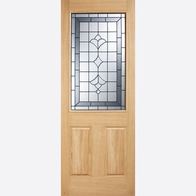 Winchester Glazed Door: 1-light *Black Onyx Double Glazed* *Unfinished Oak* 44mm Dowel Warmer Part-L External Door - LPD Oak External Doors