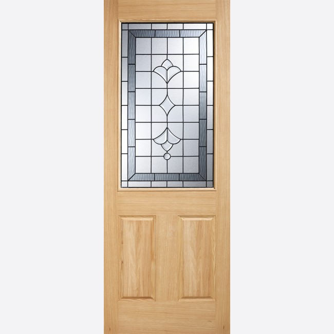 the latest c885c 97e6b Winchester Glazed Door: 1-light *Black Onyx Double Glazed* *Unfinished Oak*  44mm Dowel Warmer Part-L External Door - LPD Oak External Doors