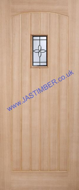CHESHAM Glazed DOOR: 1-light *Part Obscured Double Glazed* *OAK* 44mm Dowel Warmer External Door - LPD Doors