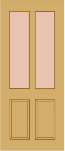 "MALTON Unglazed DOOR: 2-light *Unglazed* [Hardwood] M&T 1.75"" External Door - LPD Doors"
