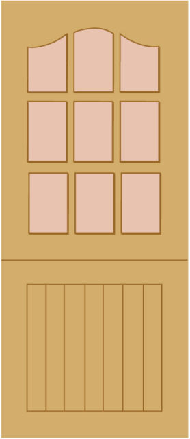 "STABLE Unglazed DOOR: 9-light *Unglazed* [Hardwood] M&T 1.75"" External Door - LPD Doors"
