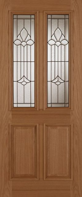 Derby Chameleon Glazed Door: 2-light *Triple Glazed* Oak 44mm External - Mendes Doors