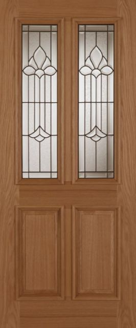 DERBY CHAMELEON Glazed DOOR: 2-light *Triple Glazed* Oak 44mm External Door - Mendes Doors
