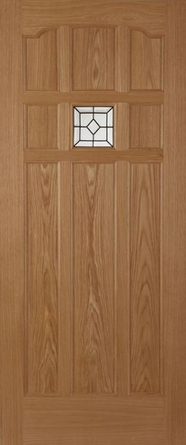 SANDOWN LEAD Glazed DOOR: 1-light *Triple Glazed* Oak 44mm External Door - Mendes Doors