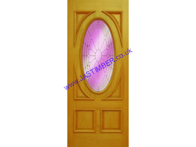 SOVEREIGN Glazed DOOR: 1-light *OVAL Triple Glazed* OAK 44mm External Door - Mendes Doors