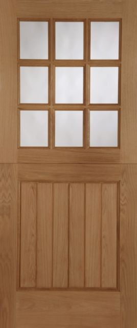 STABLE Unglazed DOOR: 9-light *Unglazed* Oak 44mm External Door - Mendes Doors