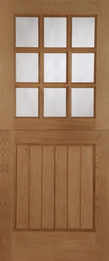 Stable 9-light Unglazed Oak External Door