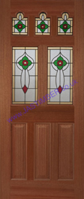 Ealing Rose Glazed Door: 5-light *Triple Glazed* Hardwood 44mm External Door - Mendes Doors