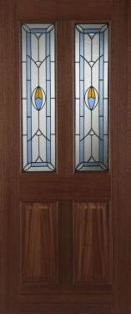 Edwardian Blue Glazed Door: 2-light *Triple Glazed* Hardwood 44mm External Door - Mendes Doors