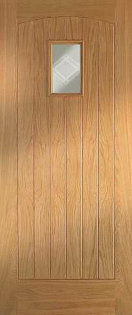 COTTAGE Glazed DOOR: 1-light *Glazed* Oak 44mm Thermally Rated External Door - Mendes Doors