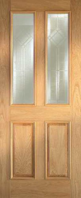 Derby Glazed Door: 2-light *Glazed* Oak 44mm Thermally Rated External - Mendes Doors