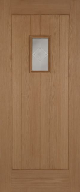 Hillingdon Glazed Door: 1-light *Glazed* Oak 44mm Thermally Rated External Doors - Mendes Doors