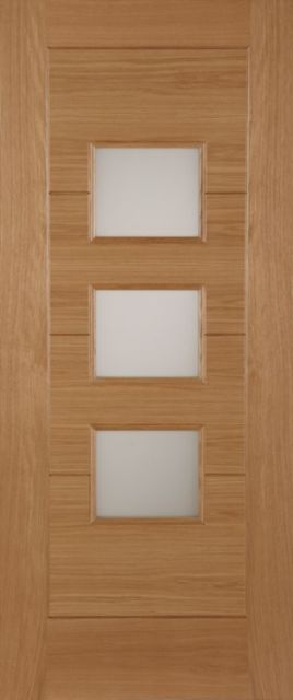 Monza Glazed Door: 3-light *Glazed* Oak 44mm Thermally Rated External Doors - Mendes Doors