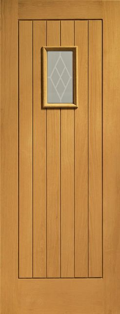 Chancery Glazed Door: 1-light *Decorative Glazed* T&G effect *Pre-Finished Oak* 44mm External Door - XL Doors