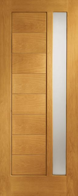 Modena Glazed Door: 1-light *Obscure Double Glazed* T&G effect *Pre-Finished Oak* 44mm External Door - XL Doors