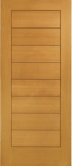 Modena Door: V-groove Panel *Pre-Finished Oak* 44mm M&T External Door - XL Doors