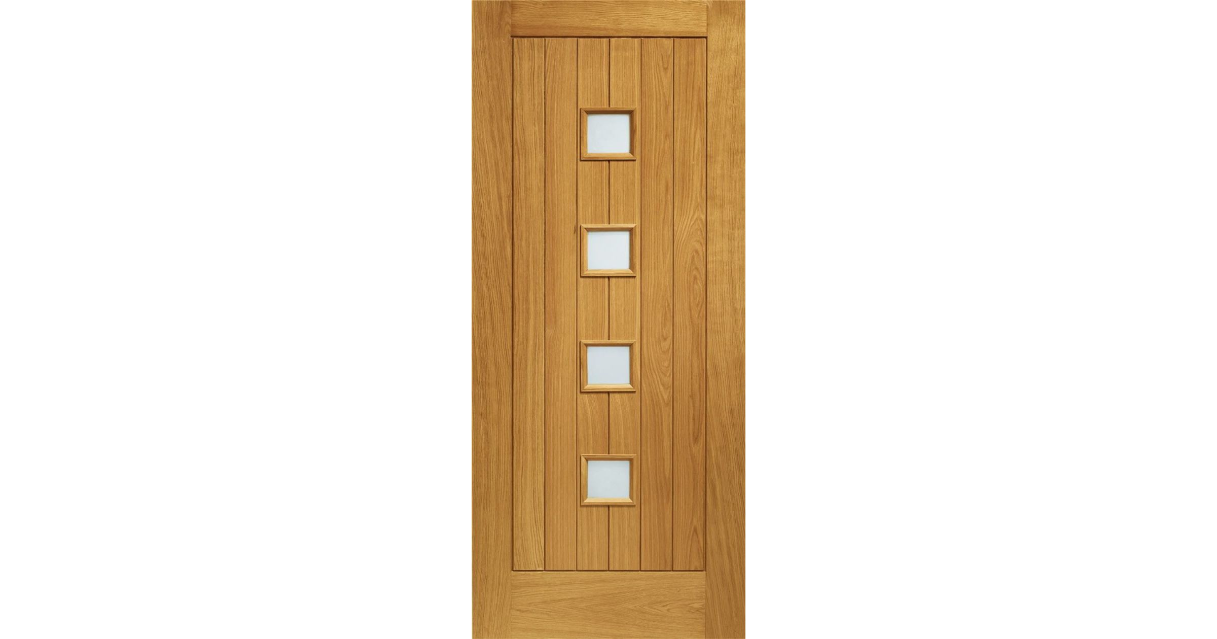 Siena Glazed Door: 4-light *Double Glazed* T&G Effect *Pre-Finished Oak* 44mm M&T External Door - XL Doors