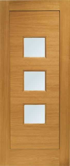 Turin Glazed Door: 3-light *Obscure Double Glazed* *Pre-Finished Oak* 44mm External Door - XL Doors