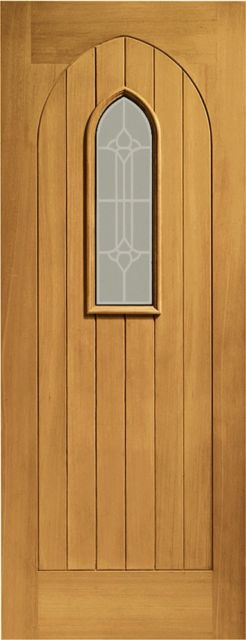 Westminster Glazed Door: 1-light *Decorative Glazed* T&G effect *Pre-Finished Oak* 44mm External Door - XL Doors