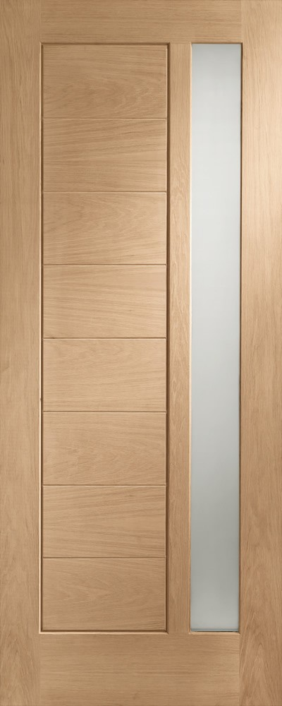 MODENA Glazed DOOR: 1-light *Double Glazed* T&G effect *OAK* 44mm External Door - XL Doors