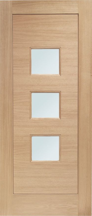 Turin Glazed Door: 3-light *Double Glazed* *Unfinished Oak* 44mm M&T External Door - XL Doors