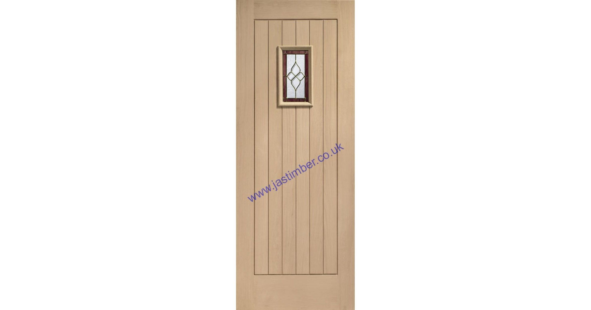 Chancery Onyx Brass-Came Triple-Glazed M&T Oak Door - XL