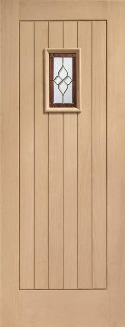 Chancery Onyx Glazed Door: 1-light *Brass-Came TG* Oak M&T 44mm External Door - XL Doors