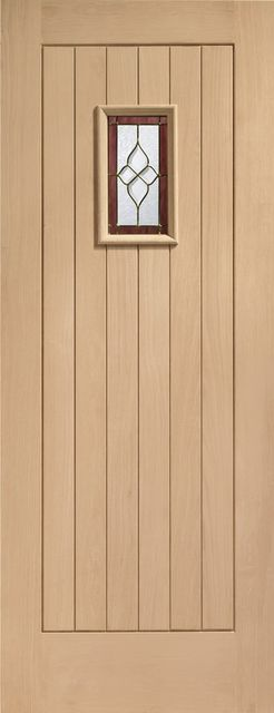 Chancery Onyx 1-light Triple-Glazed Oak External Door