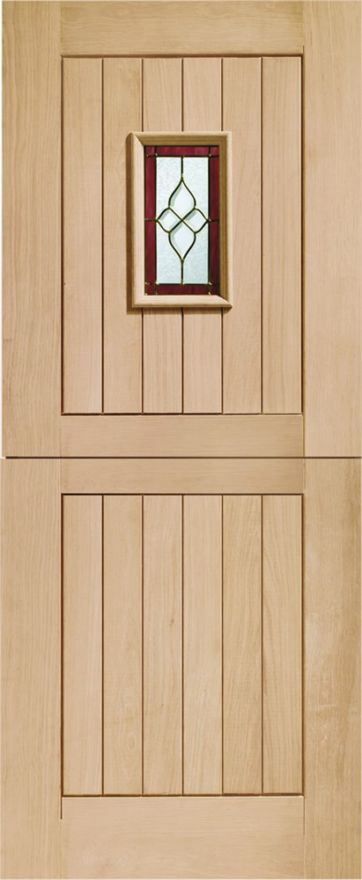 Chancery Stable Glazed Door: 1-light *Brass-Came TG* *Unfinished Oak* Dowel 44mm External Door - XL Doors