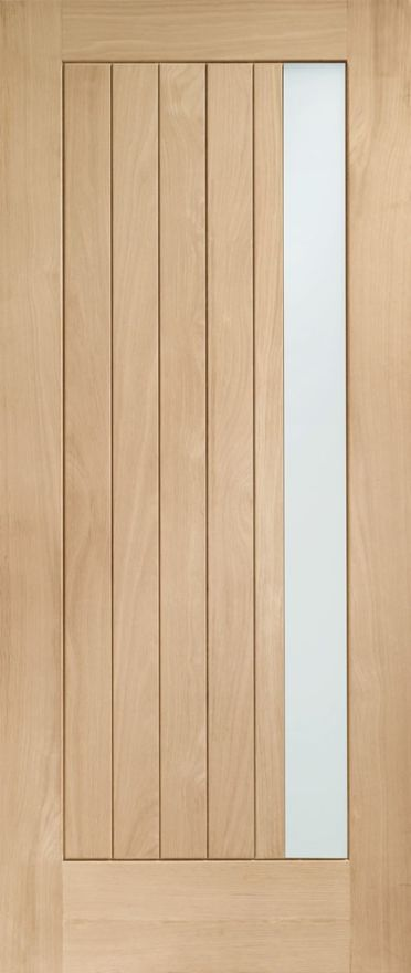 Trieste Glazed Door: 1-light *Double Glazed* T&G *Unfinished Oak* 44mm External Door - XL Doors