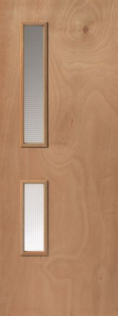 Plywood 16G-DDA Fire Door: FD30 2VP-GWPP Glazed Flush 44mm Internal Firecheck - JB Kind Fire Doors